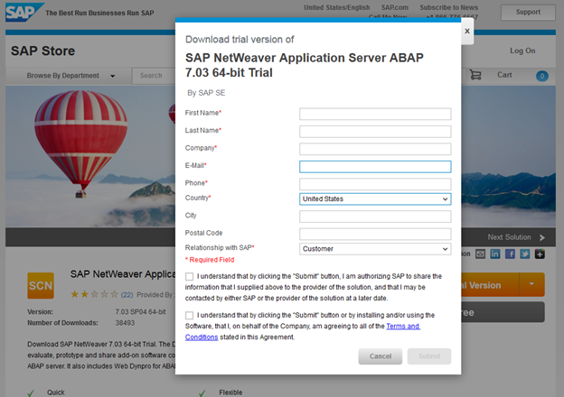 Download SAP Trial System - Step 3