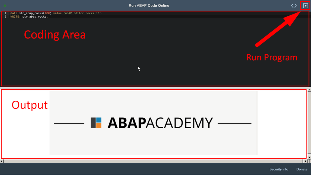 This is how FREE ABAP Editor Online looks like.