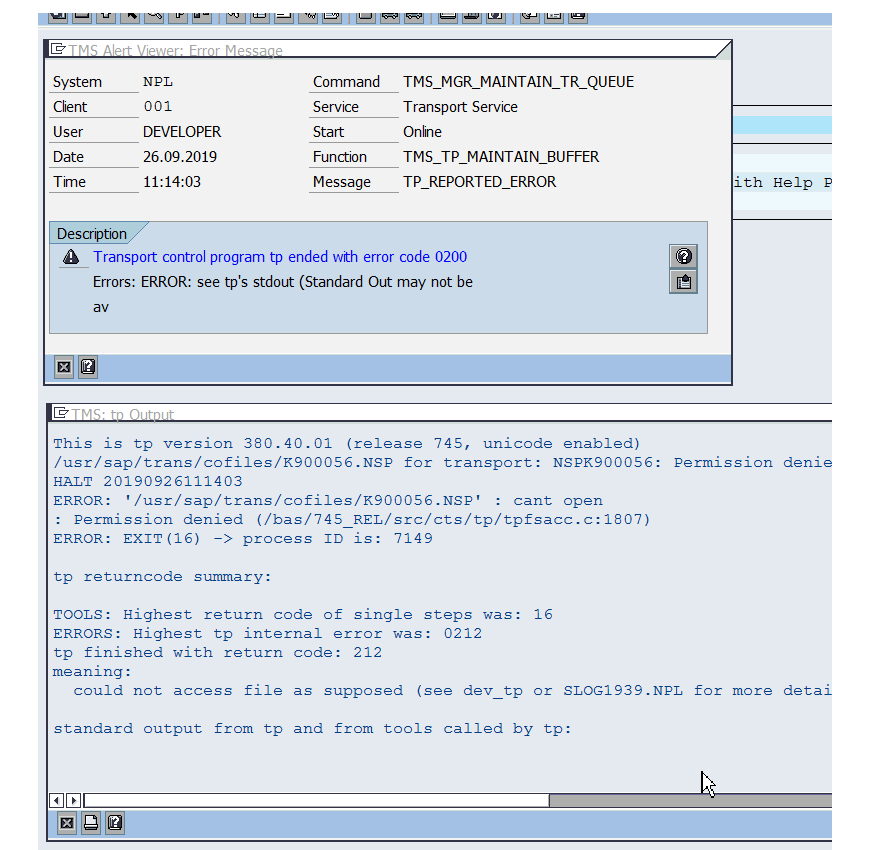 Transport control program tp ended with error code 0200