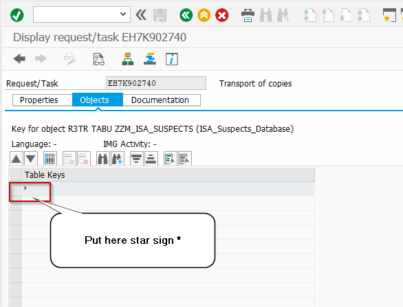 Add * to adding all the rows of table content in SAP