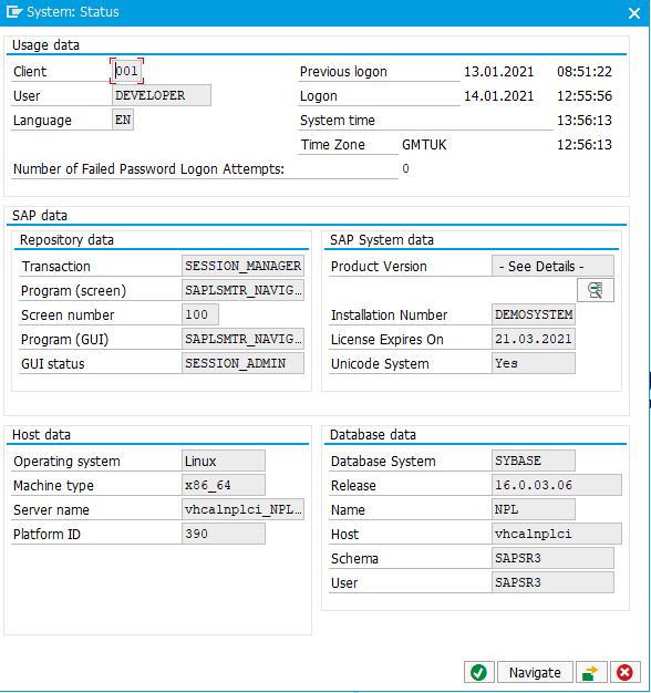 ABAP Academy SAP System Status